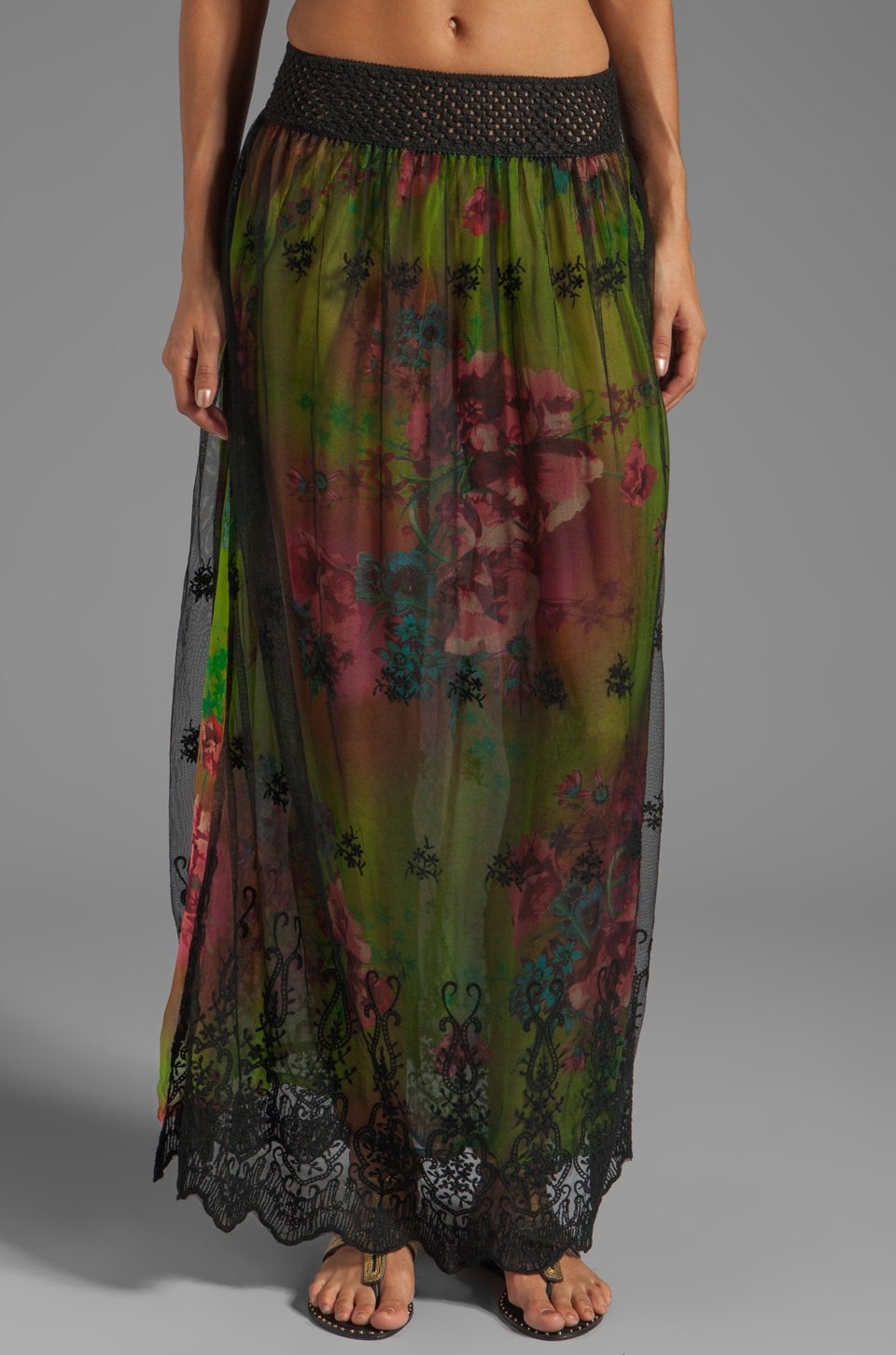 Gypsy Junkies Santana Slit Maxi Skirt in Lime Neon Bloom