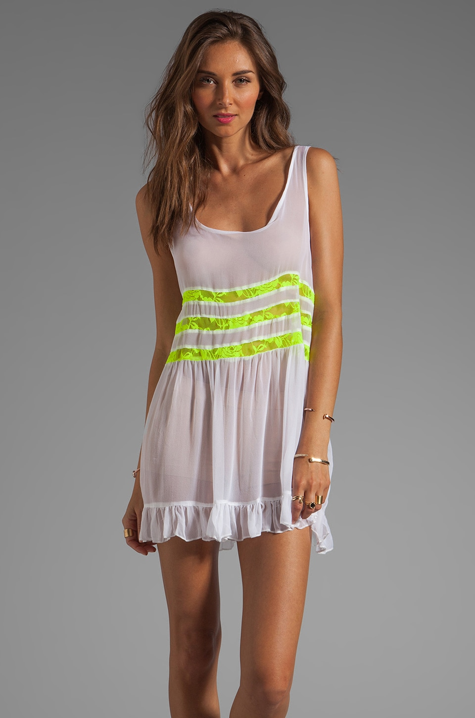 Gypsy Junkies Seville Tunic in White/Yellow