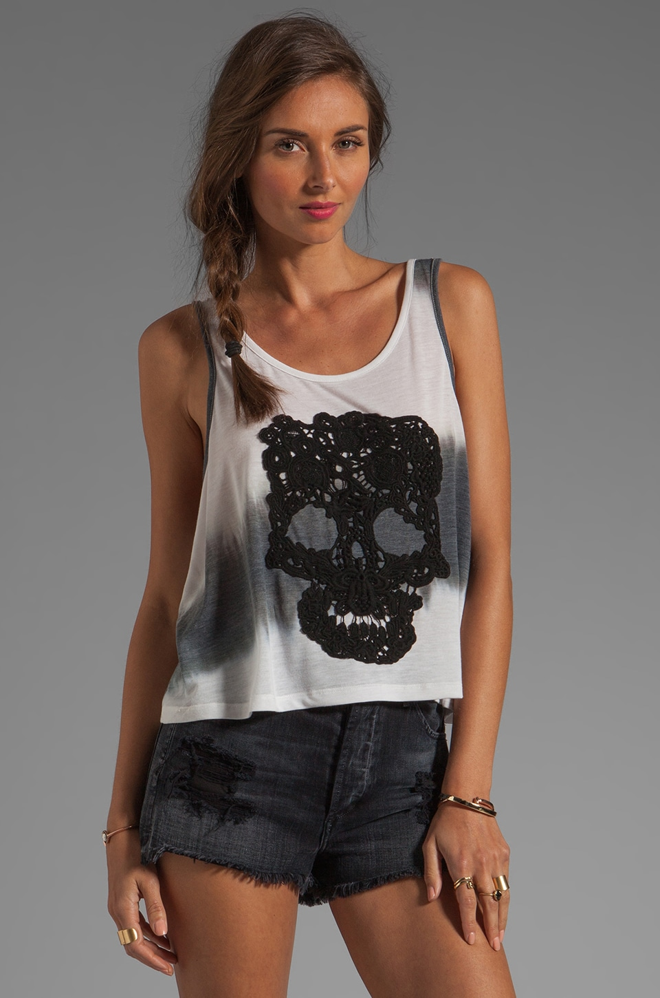 Gypsy Junkies Slouch Tank in Black Tie Dye