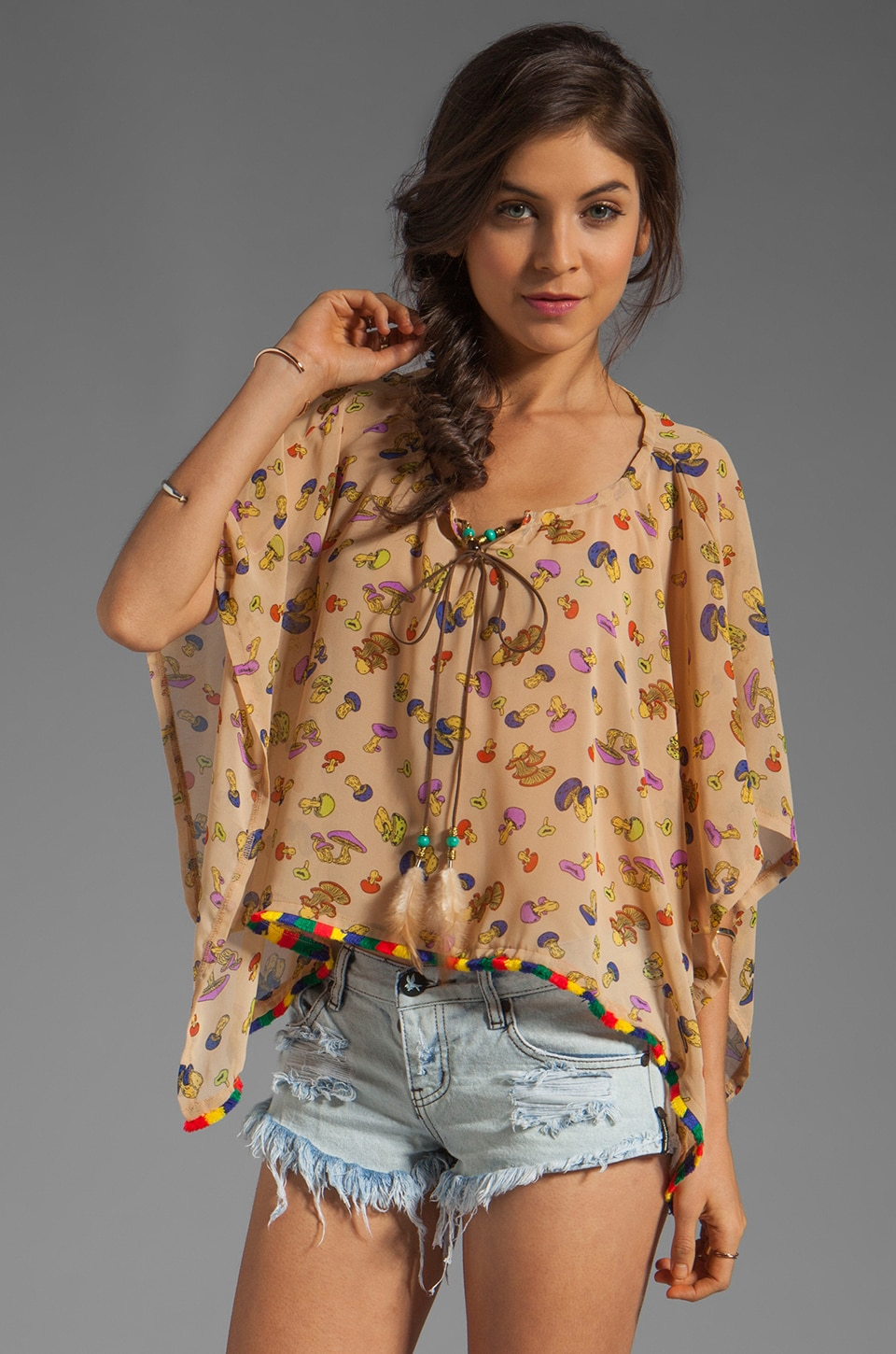 Gypsy Junkies Virginia Poncho in Mushroom Magic