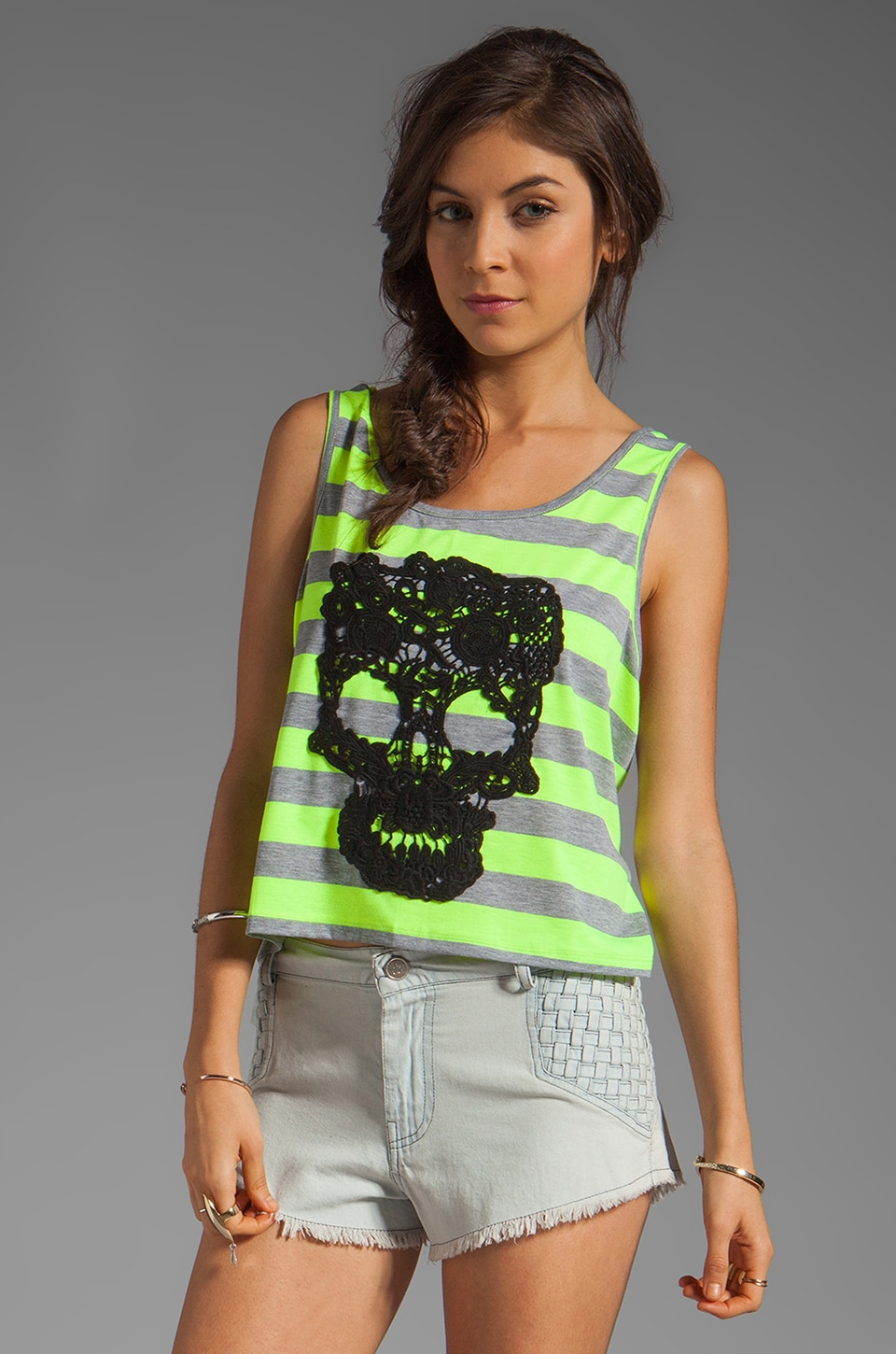Gypsy Junkies Skull Slouchy Tank in Yellow Stripe