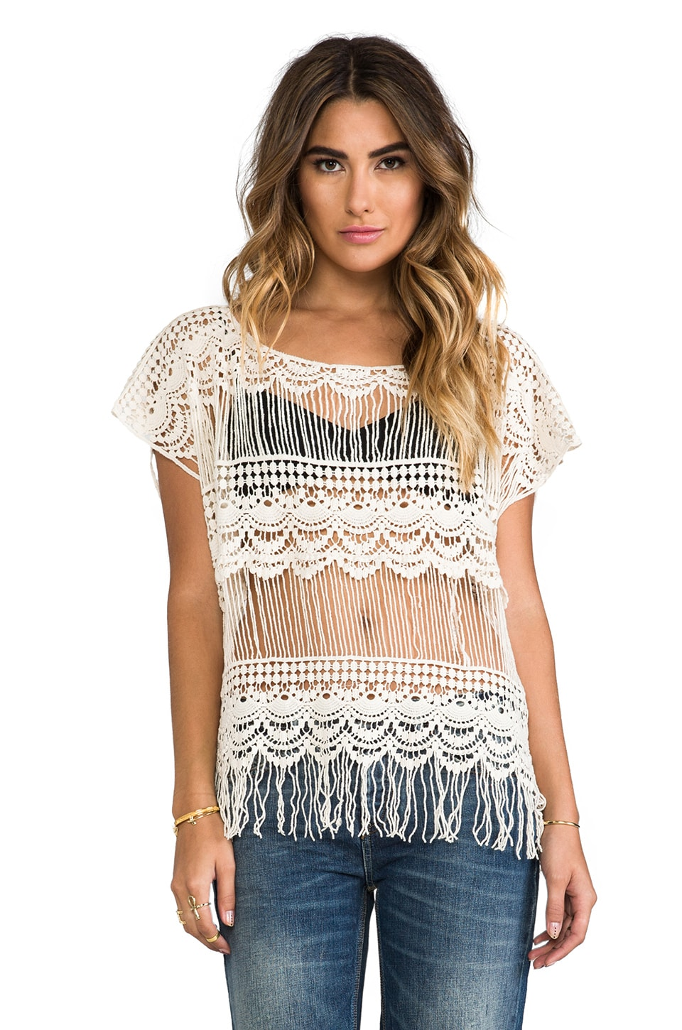 Gypsy Junkies Kali Crochet Tee in Natural