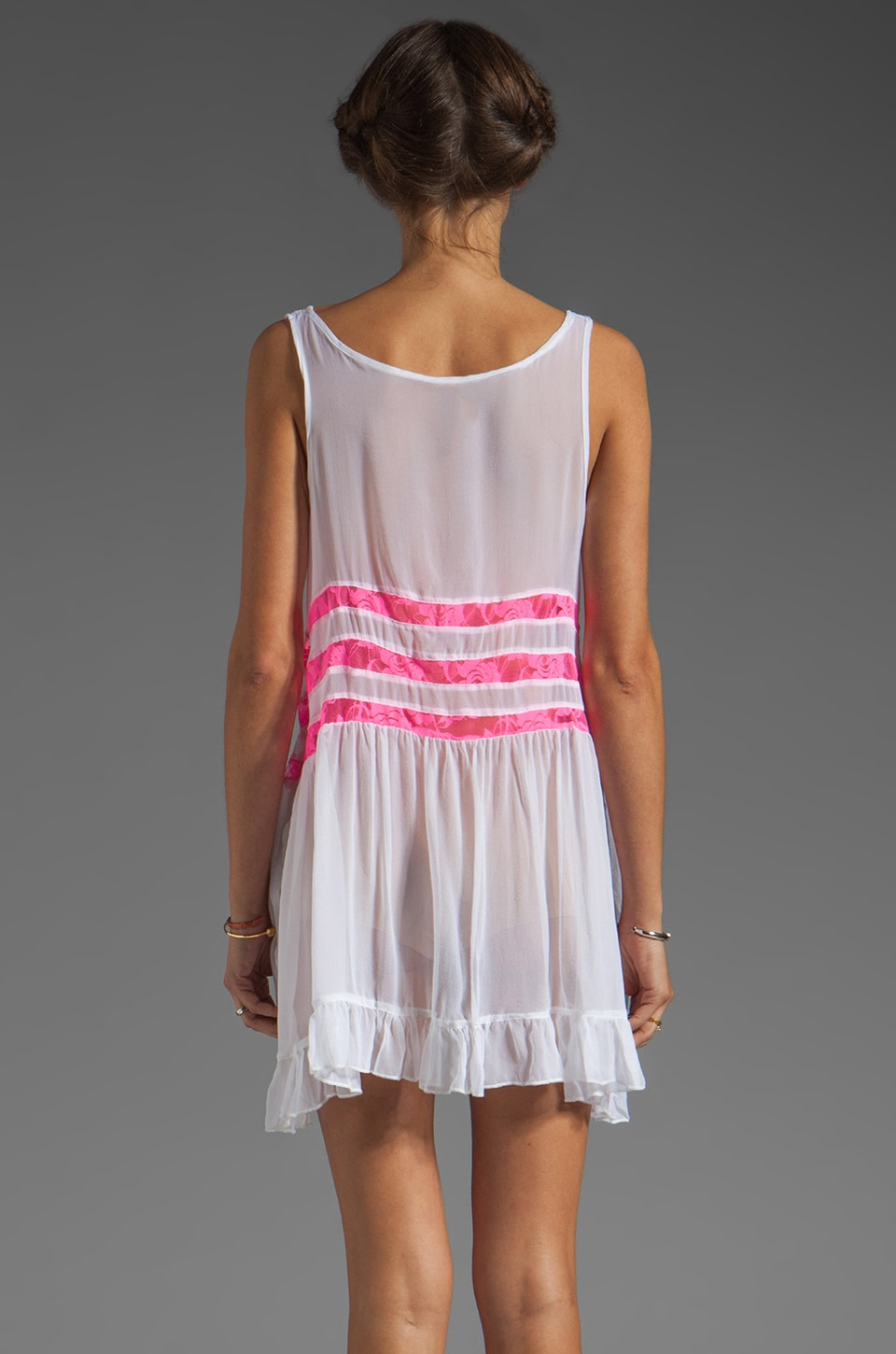 Gypsy Junkies Seville Tunic in White/Neon Pink