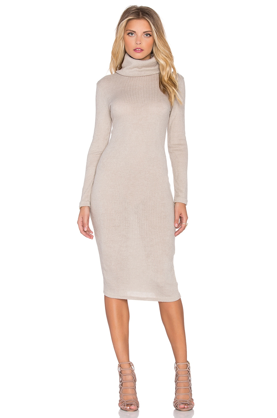 GLAMOROUS Turtleneck Sweater Dress in Cream