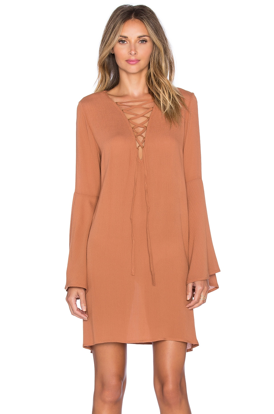 GLAMOROUS Lace Up Mini Shift Dress in Tan