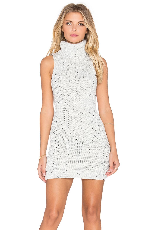 GLAMOROUS Sleeveless Turtleneck Mini Dress in Black & White