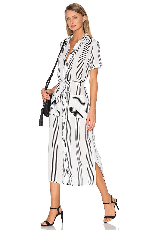 GLAMOROUS Button Up Dress in White Chiffon Stripe