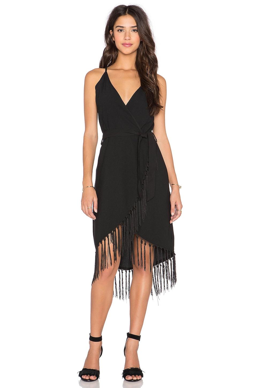 GLAMOROUS Fringe Wrap Dress in Black