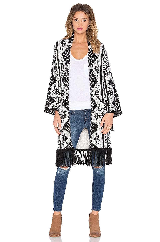 GLAMOROUS Fringe Kimono in Cream & Black