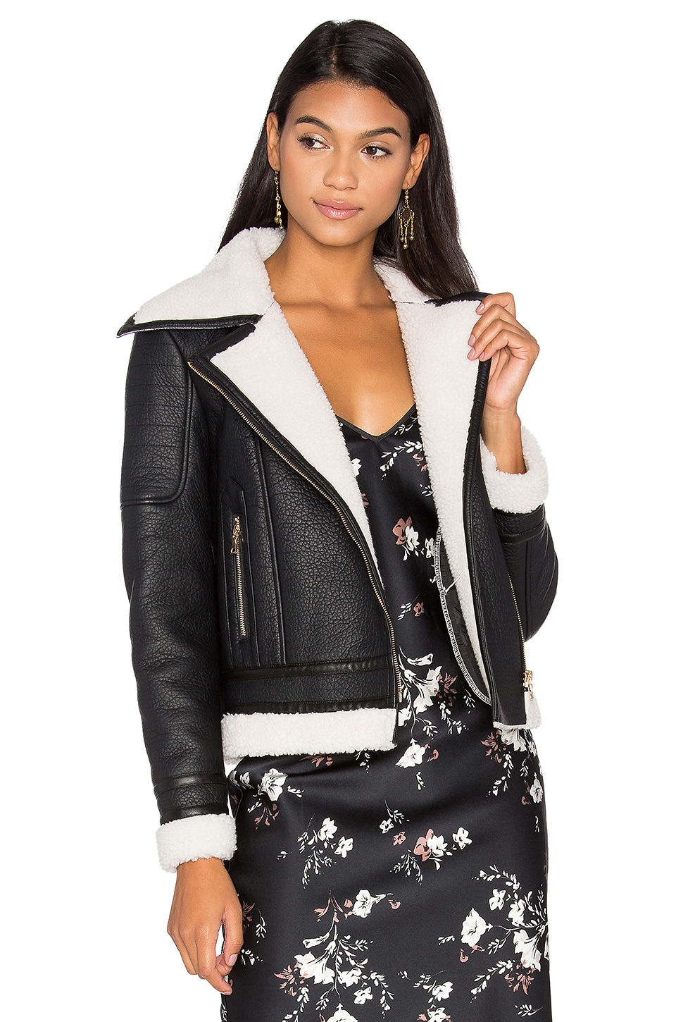 Wool & Leather Jacket With Faux Sherpa Lining by GLAMOROUS
