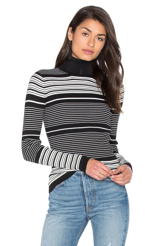 GLAMOROUS Turtleneck Top in Black White Stripe