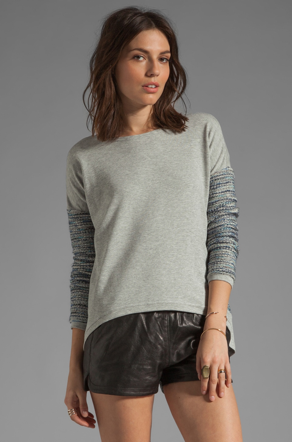 Generation Love Bobo French Terry Combo Sweater in Heather Grey/ Blue