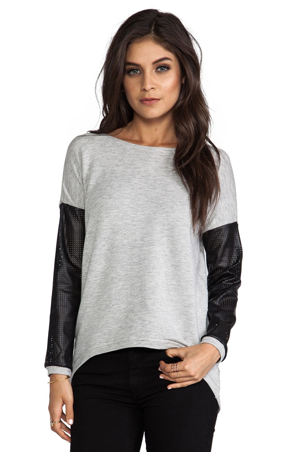 Generation Love Bobo Perforated Leather Sleeve Sweater in Grey
