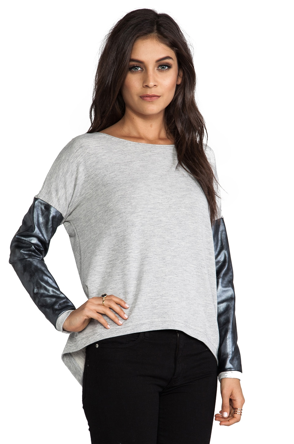 Generation Love Bobo Silver Leather Sweater in Grey