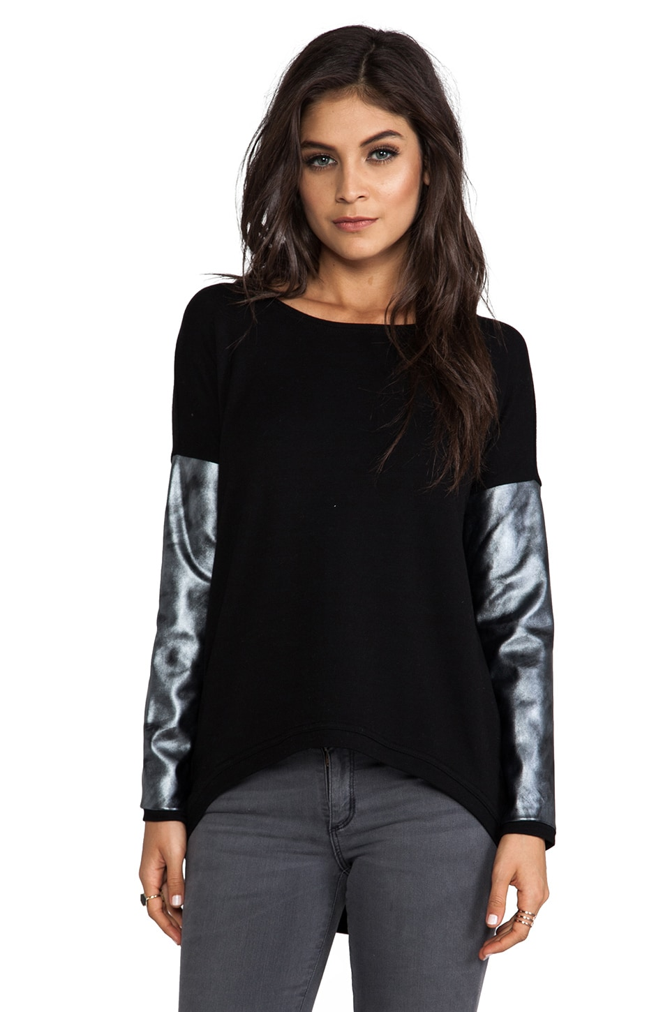 Generation Love Bobo Silver Leather Sweater in Black