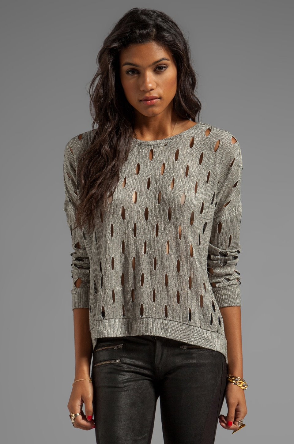 Generation Love Geneva Metal Slit Sweater in Gold