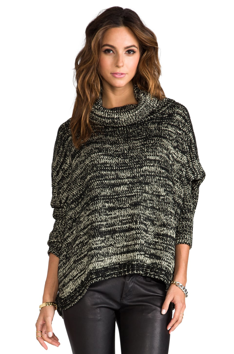 Generation Love Brunch Metal Poncho Sweater in Gold