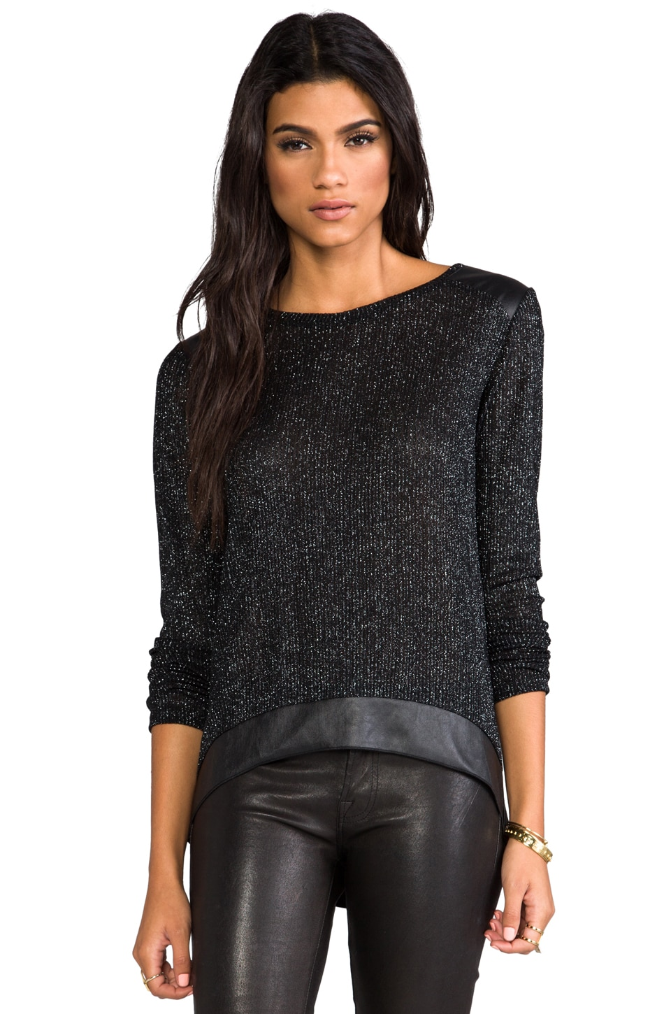 Generation Love Atticus Metallic Mesh Top in Black