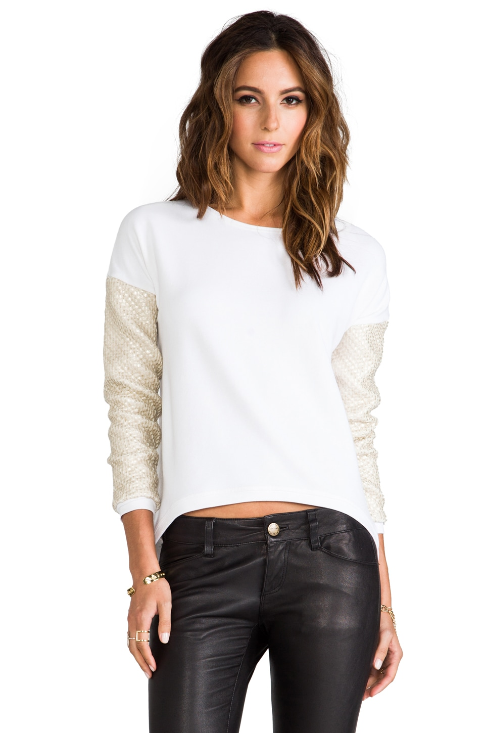 Generation Love Bobo Boucle Sleeve Sweater in Platinum