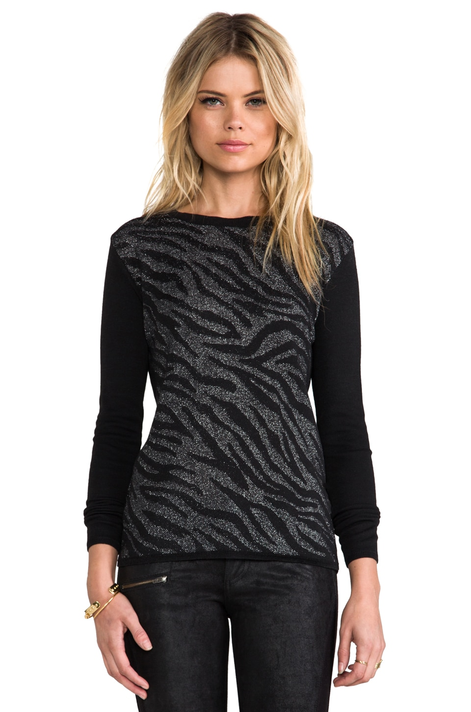Generation Love Camilla Zebra Combo Sweater in Black & Silver
