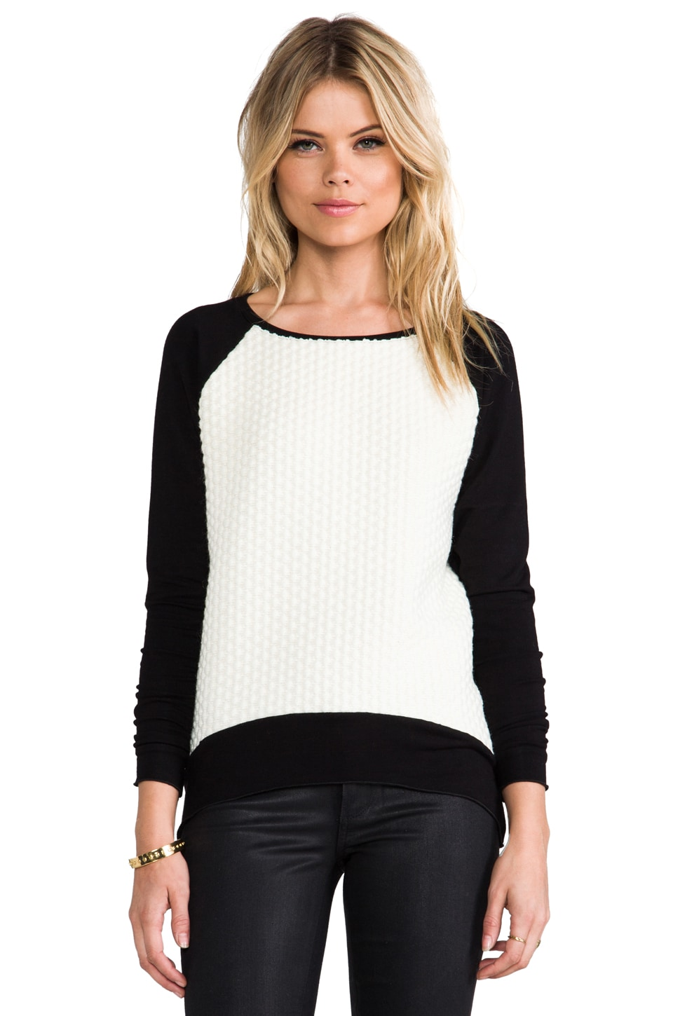 Generation Love Emma White Combo Popcorn Sweater in Black