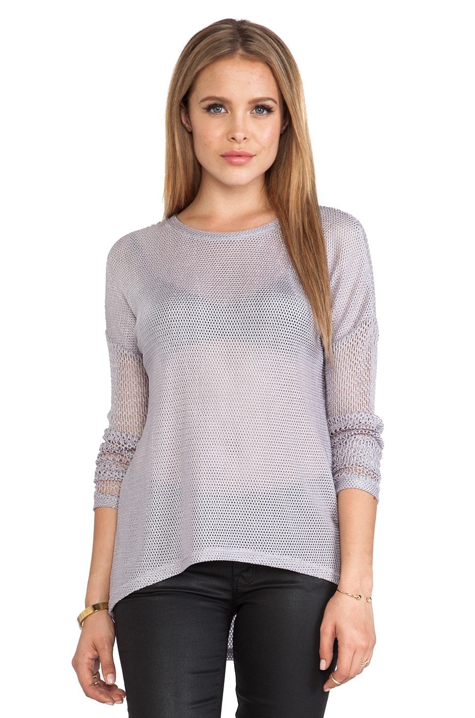Generation Love Juliet Combo Mesh Long Sleeve Shirt in Grey &Nude