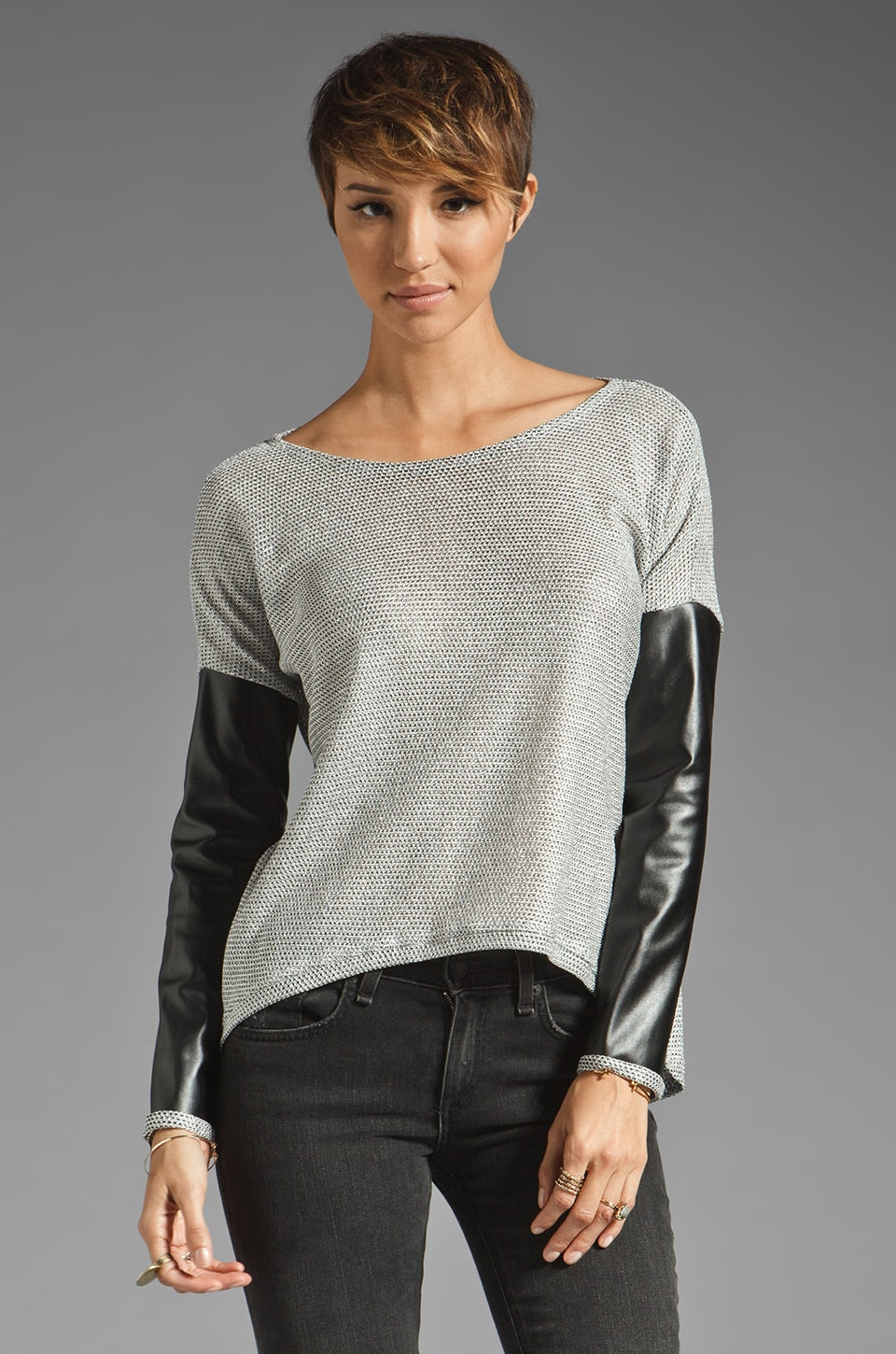 Generation Love Bobo Metallic Leather Sleeve Combo Sweater in Silver/Black