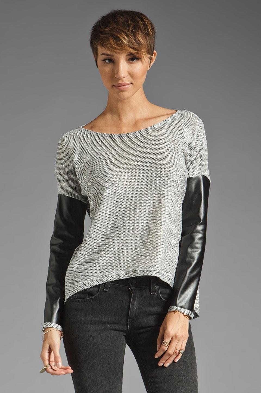 Generation Love Bobo Metallic Leather Sleeve Combo Sweater in Silver/Black