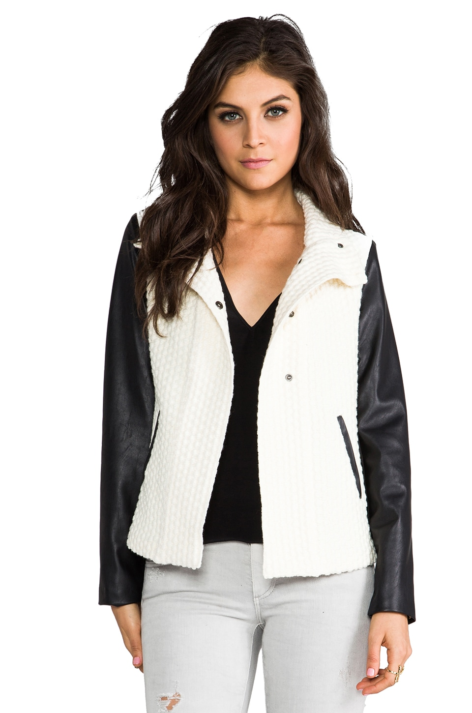 Generation Love Yoko Leather Sleeve Popcorn Jacket in Black/White