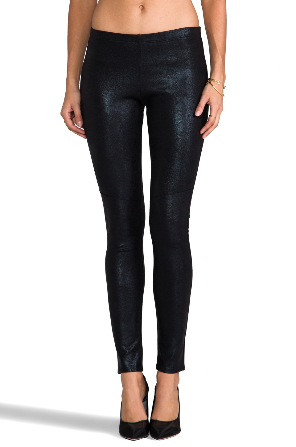 Generation Love Elysa Coated Moto Legging in Black