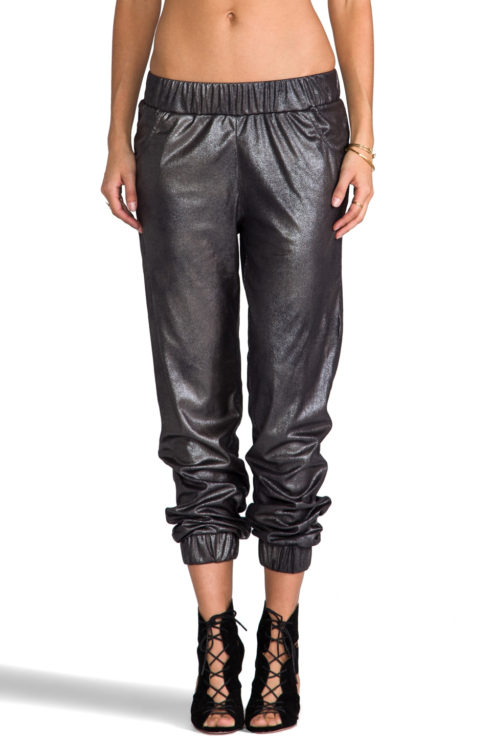 Generation Love Jo Coated Suede Slouch Pant in Metallic