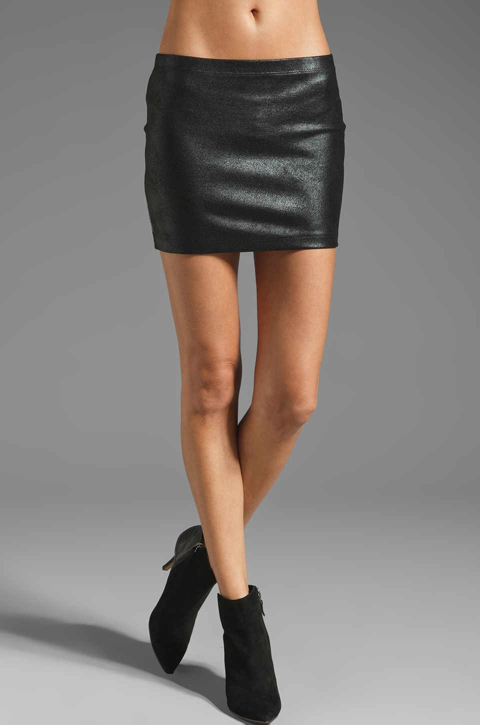 Generation Love Celine Leather Mini Skirt with Side Zipper in Black