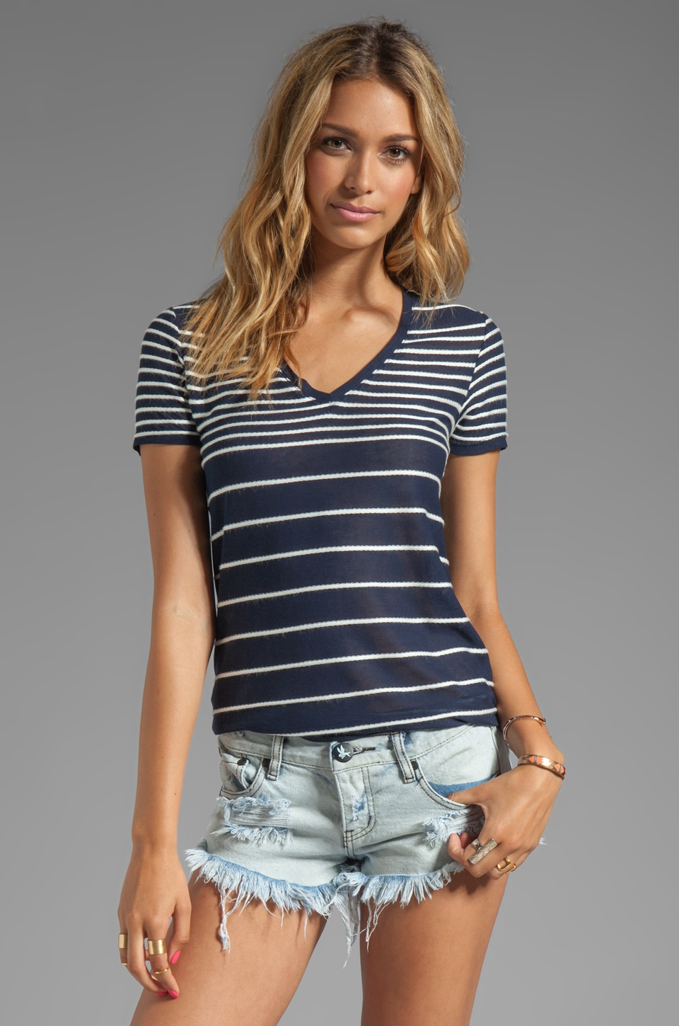 Generation Love Giovanna V-Neck Striped Tee in Navy