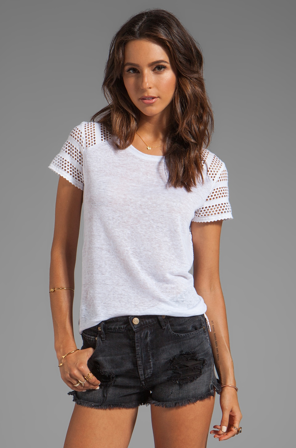 Generation Love Eleni Eyelet Back Top in White