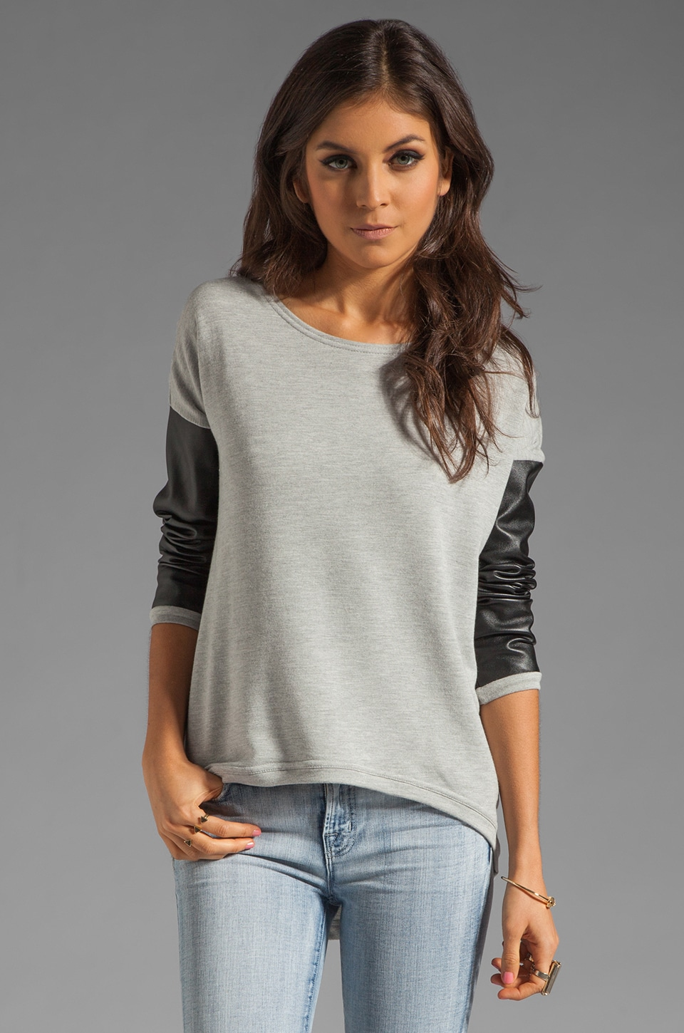 Generation Love Bobo Italian Faux Leather Sleeve Sweatshirt in Grey