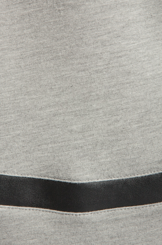 Generation Love Bobo Italian Faux Leather Sleeve Sweatshirt in Grey
