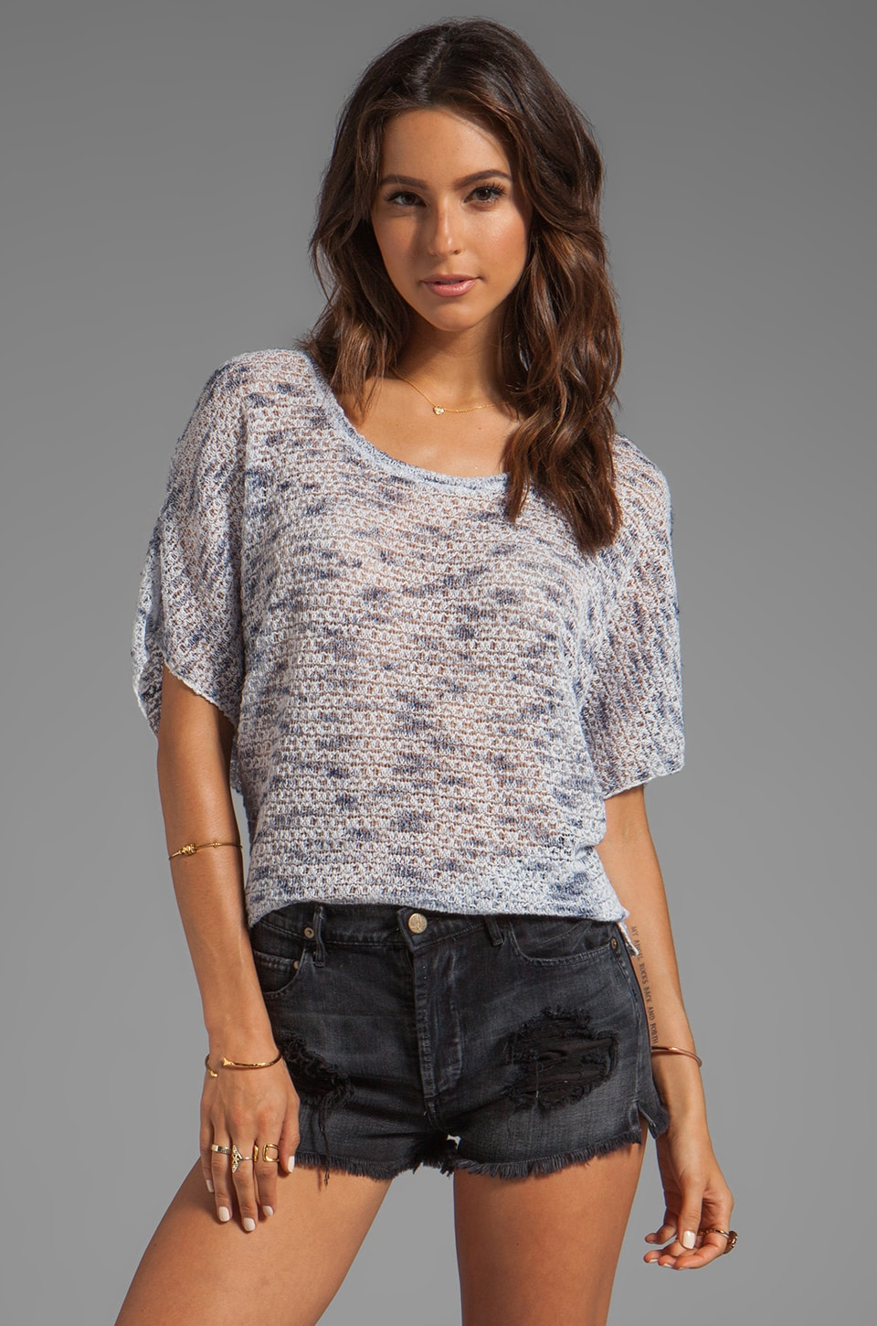 Generation Love Rena Dolman Weave Top in Navy