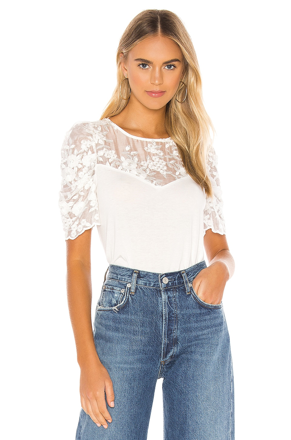 Generation Love Gabriella Puff Top in White