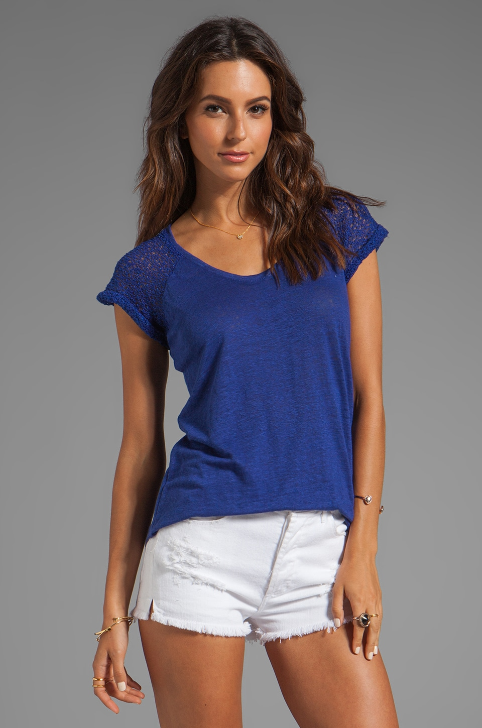 Generation Love Daniela Open Weave Top in Royal Blue