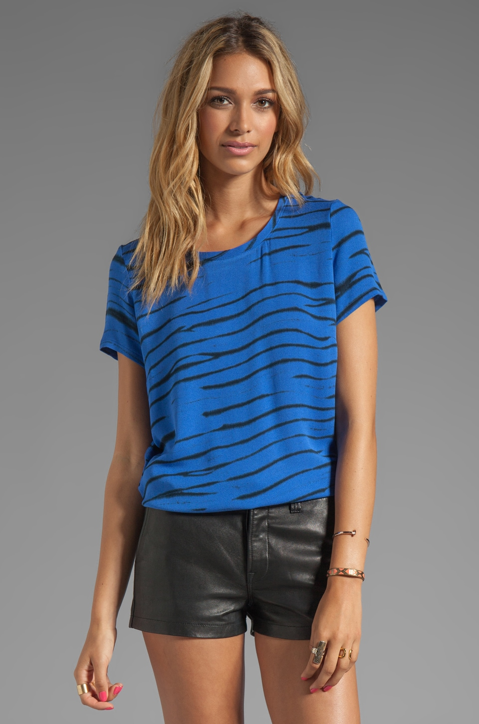 Generation Love Vinnie Animal Print Top in Black/Cobalt