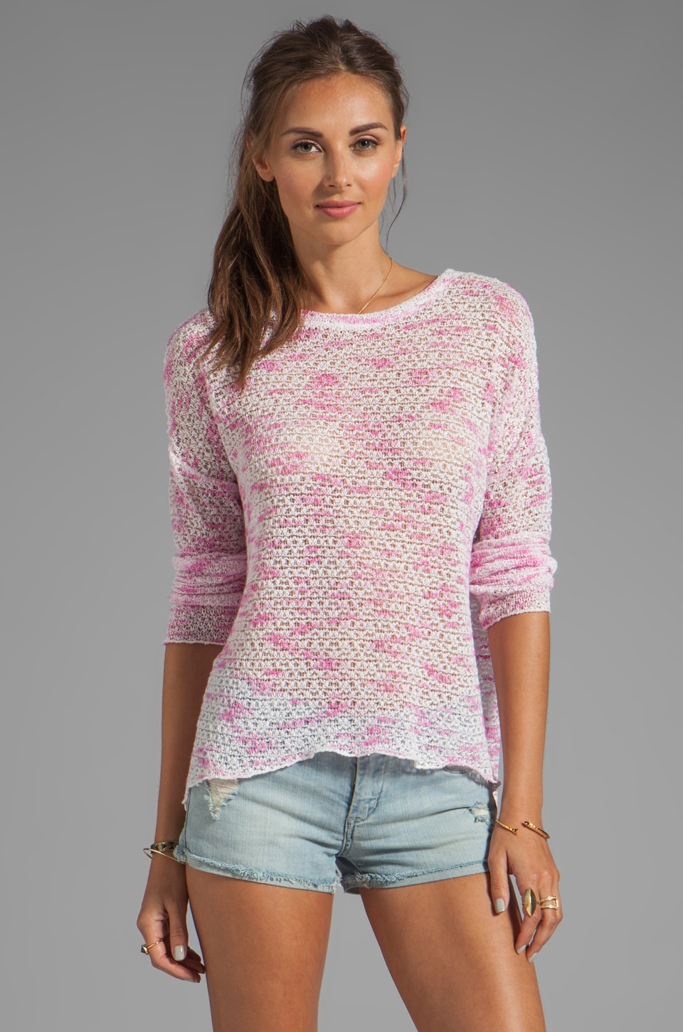 Generation Love Judy Long Sleeve Weave Top in Pink