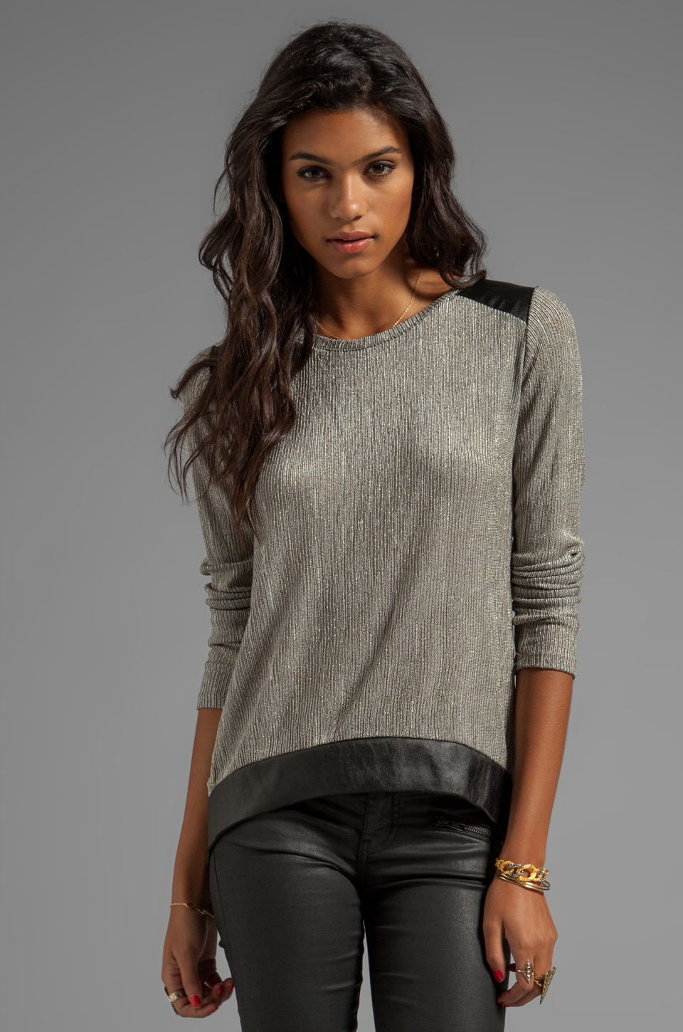 Generation Love Atticus Metal Leather Patch Long Sleeve Top in Gold