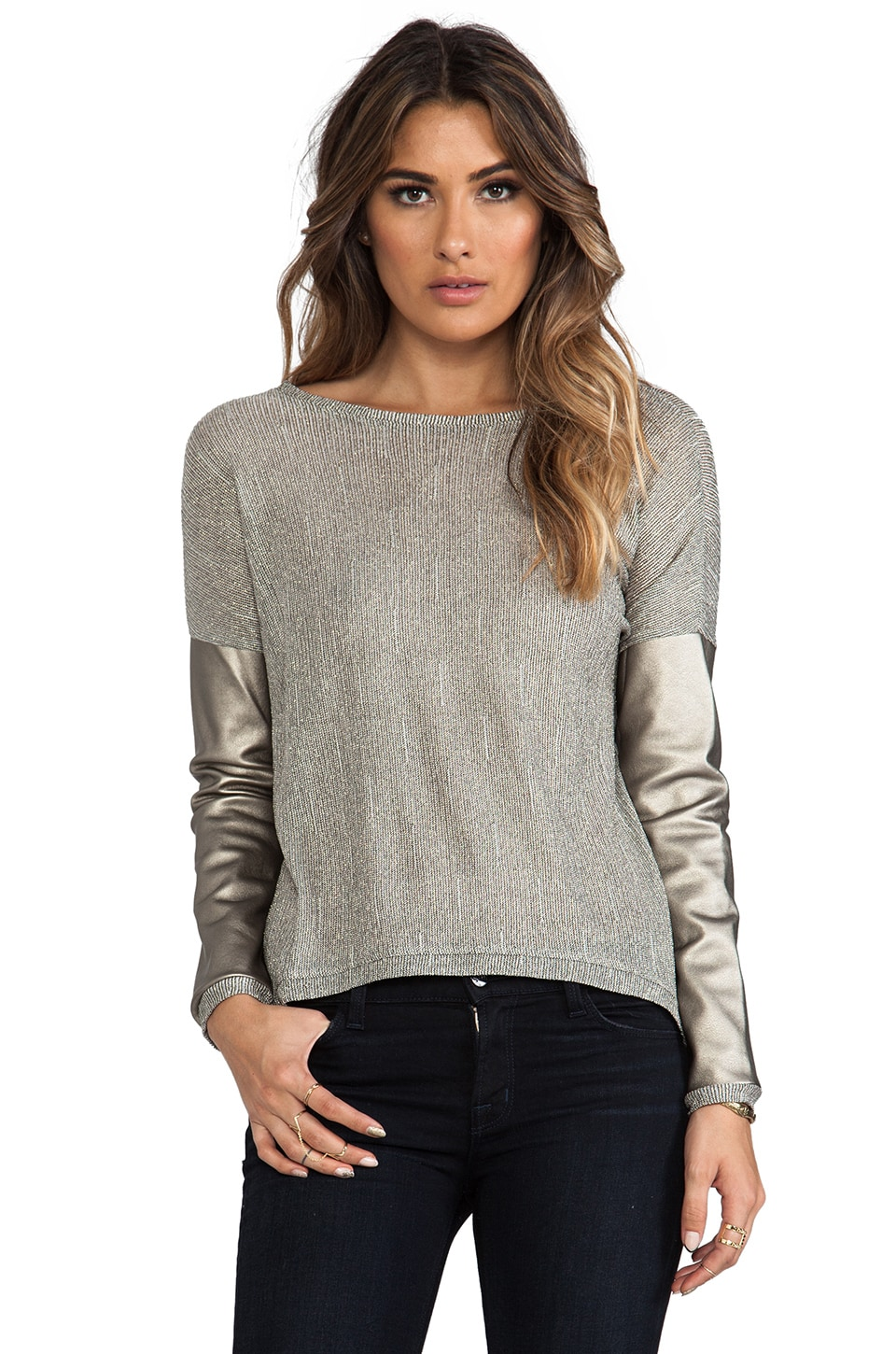 Generation Love Bobo Metallic Long Sleeve Top in Gold