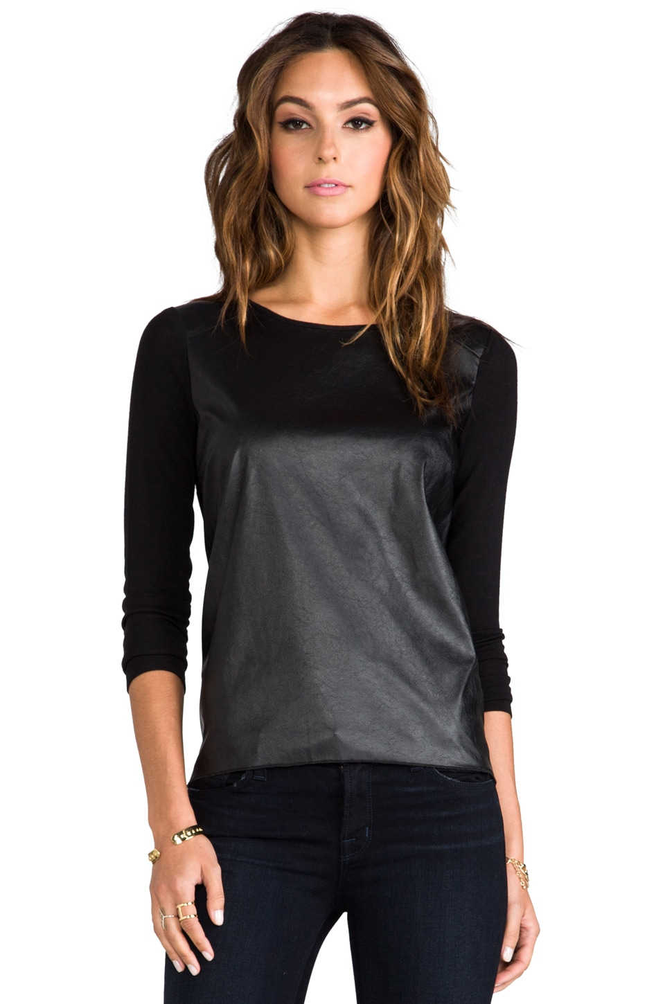 Generation Love Phoenix Leather Sleeve Combo Top in Black