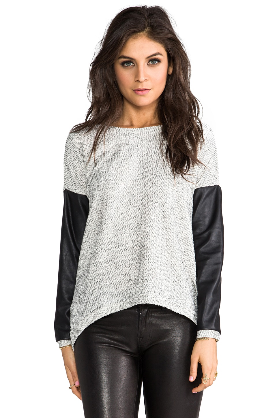Generation Love Bobo Leather Sleeve Top in Melange