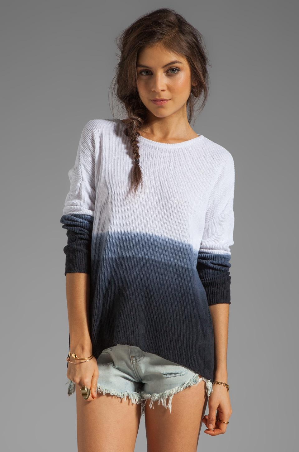 Generation Love Judy Ombre Jacquard Long Sleeve in Ash