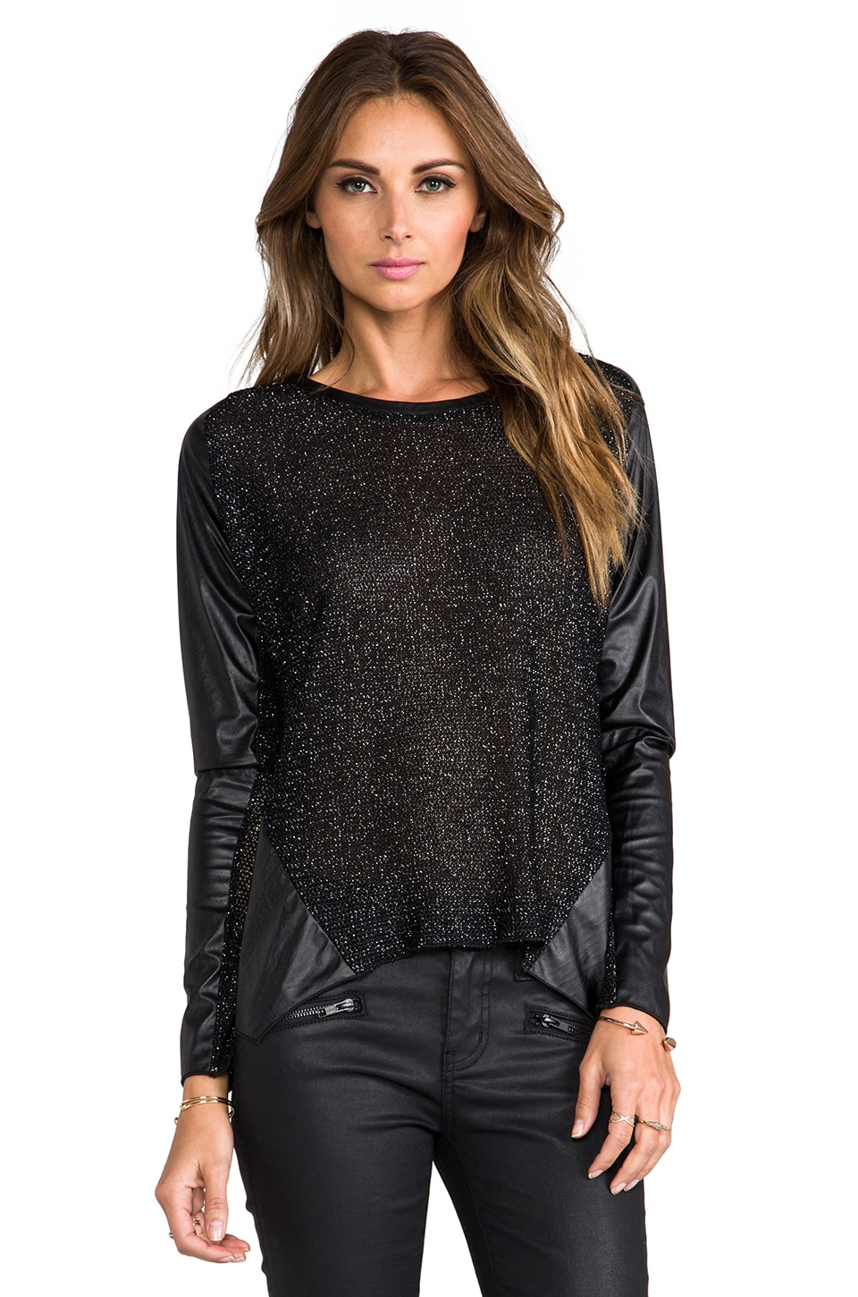 Generation Love Halle Metal Leather Sleeve Top in Black