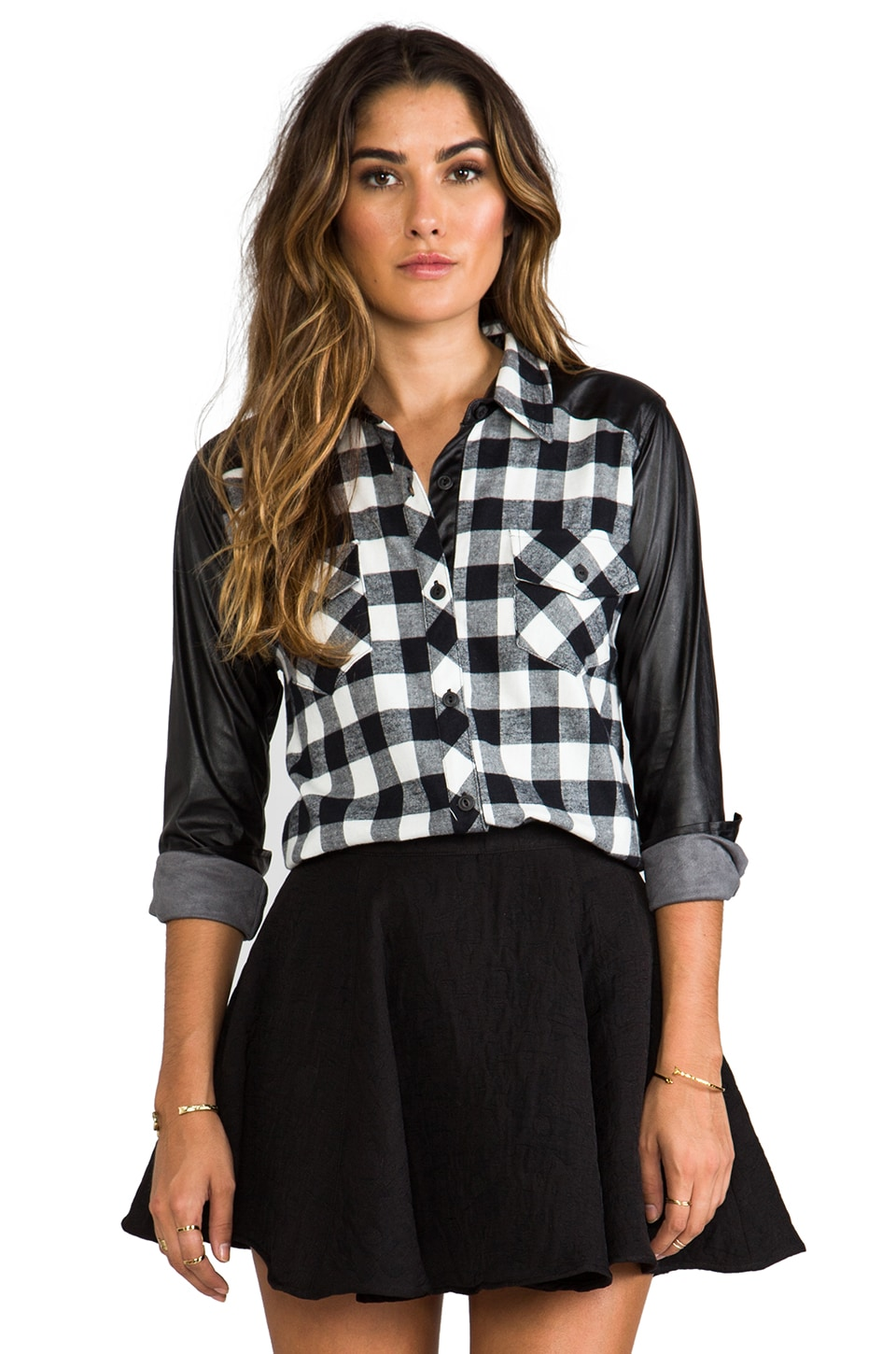 Generation Love Olga Leather Sleeve Plaid Top in Black/White