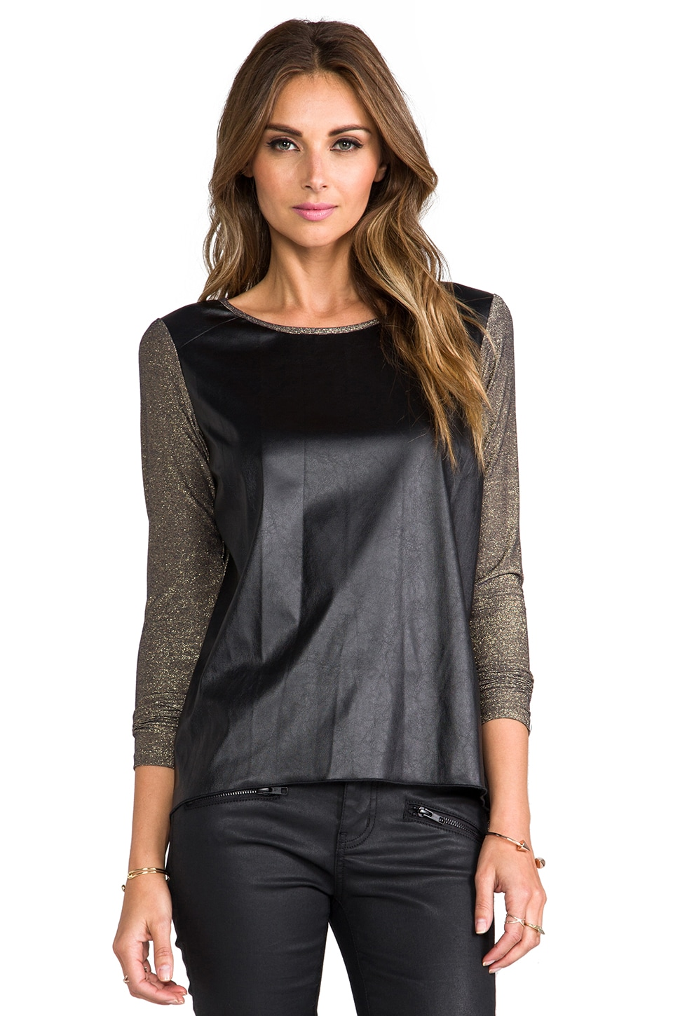 Generation Love Phoenix Lurex Leather Long Sleeve Tee in Bronze