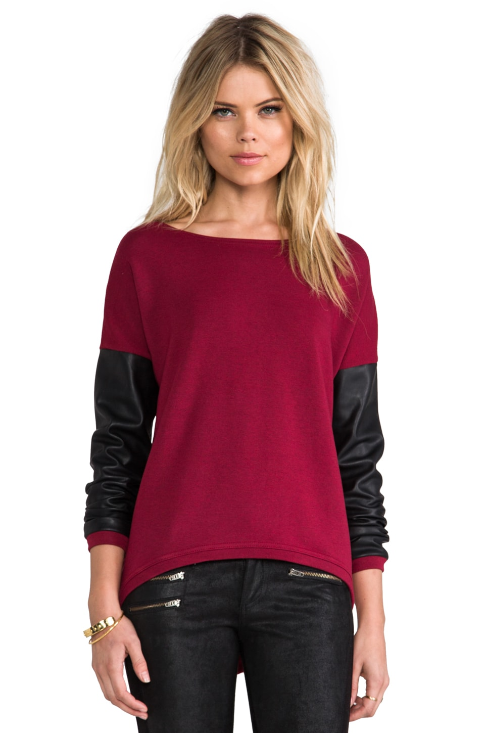 Generation Love Bobo Leather Sleeve Top in Cranberry